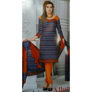 blue with orange cotton salwar material