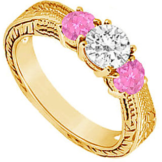 Gorgeous Three Stone Pink Sapphire And Diamond Ring In 14K Yellow Gold