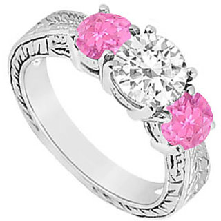 Appealing Three Stone Pink Sapphire And Diamond Ring In 14K White Gold