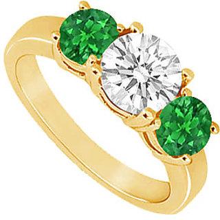 Pleasing Three Stone Emerald And Diamond Ring In 14K Yellow Gold
