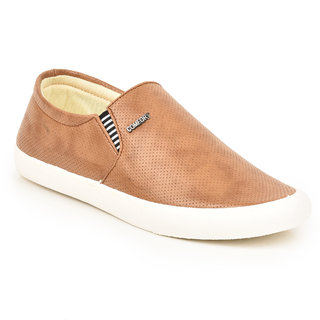 Comfort Cotton Men Beige Slip On Casual Shoes