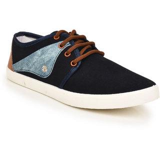 Comfort Cotton Men Blue Lace-Up Casual Shoes