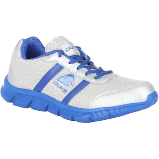 Duke Mens Silver Lace-Up Running Shoes
