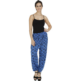 Pietra Blue colored with flower motif Harem Pants