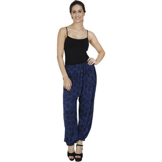Pietra Navy Blue colored with blue flower motif Harem Pants