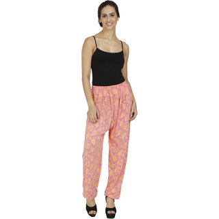 Pietra Orange colored with flower motif Harem Pants