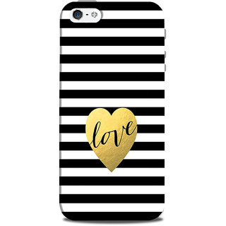Mikzy Love Written On Black And White Lines Printed Designer Back Cover Case for Iphone 5/5S