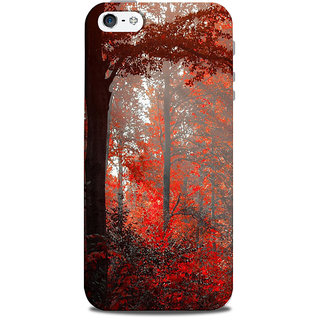 Mikzy Red Leaf Landscape Printed Designer Back Cover Case for Iphone 5/5S