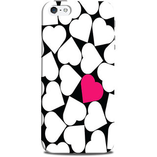 Mikzy White Hearts And One Pink Heart Printed Designer Back Cover Case for Iphone 5/5S