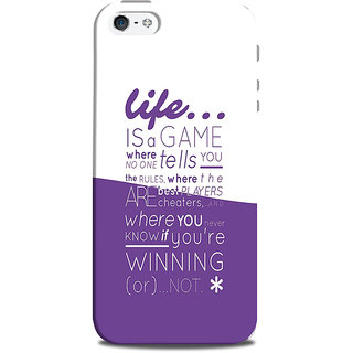 Mikzy Life A Game White  Purple Background Printed Designer Back Cover Case for Iphone 5/5S