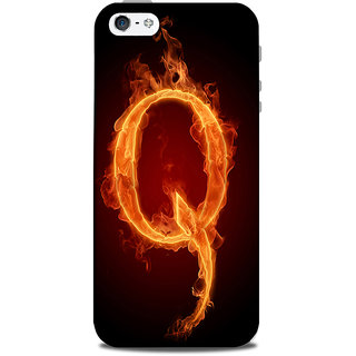 Mikzy Fire Font Letter Q Isolated On Black Background Printed Designer Back Cover Case for Iphone 5/5S