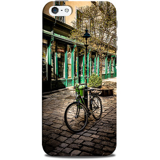 Mikzy Bicycle Parked With A Street Pole Printed Designer Back Cover Case for Iphone 5/5S