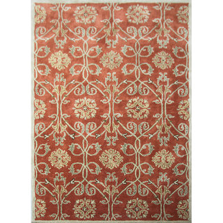 Transitional Hand Tufted Orange Rust Wool Area Rugs By Jaipur Rugs