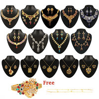 Kriaa Zinc Alloy Multicolor Set of 14 Jewellery Set With Free Kada With One Payal