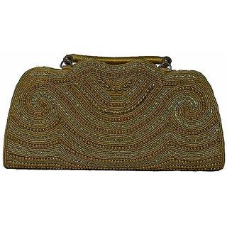 BagsHub Golden Beaded Party Clutch (B0451-0001700010-V004)