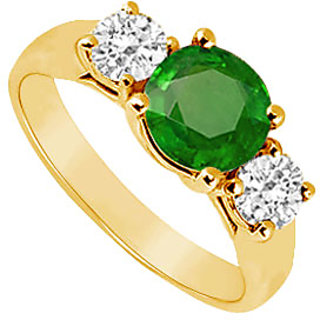 Exquisite Three Stone Emerald And Diamond Ring In 14K Yellow Gold