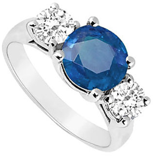 Exquisite Three Stone Sapphire And Diamond Ring In 14K White Gold