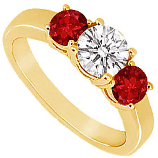 Sublime Three Stone Ruby And Diamond Ring In 14K Yellow Gold