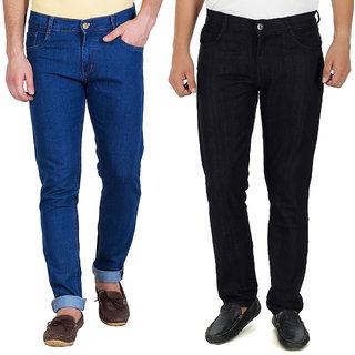 Stylox Set of 2 Black And Light Blue Jeans For Men