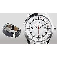 Lotto Round Dial Black Leather Strap Mens Quartz Watch