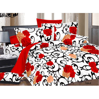 Cotton Floral Designer Double Bed Sheet With 2 Pillow Covers from Home Luxurious