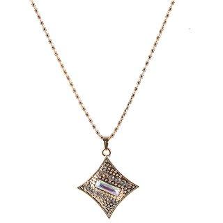 The99Jewel Gold Plated Diamond Shape Chain Pendant - AAB0386