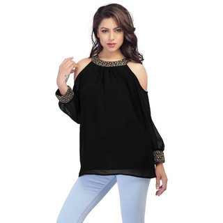 YAS D Georgette Party wear Black short top