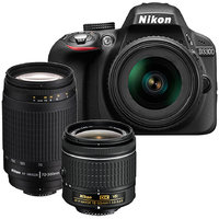 Nikon D3300 with AF-P 18-55 mm VR Kit Lens II + AF-P 70-300 mm VR Kit DSLR Camera