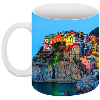 Abha Gaurav Creations Fine Colorful City Printed Coffee Mug