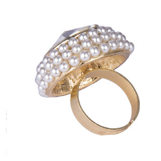 Diva Walk gold stone studded ring-00168