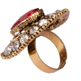 Diva Walk gold stone studded ring-00181