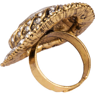 Diva Walk gold stone studded ring-00196