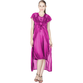 Vloria Satin Women Nighties-Light Purple