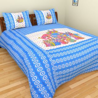 Spangle Patchwork Traditional Cotton King Size Bedsheet with two Pillow Cover
