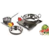 Kripa Steel Induction Base Cookware Set Powder Coated