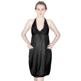 Vloria Satin Women Nighties-Black