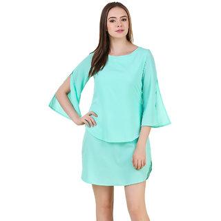 Mint Color Layerd Dress