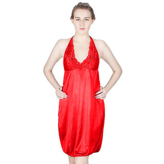 Vloria Satin Women Nighties-Red