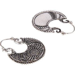 Diva Walk silver chandbali hoop earrings -00020