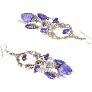 Diva Walk silver dangler earrings with blue beads-00036