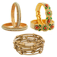 The Luxor Gold Plated Daily Wear Designer Australian Diamond, Kundan  Meenakari Studded Bangles Set Combo-2685