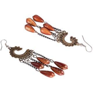 Diva Walk bronze dangler earrings with brown beads-00048