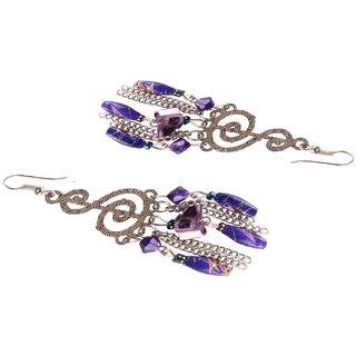 Diva Walk silver dangler earrings with purple beads-00057