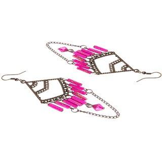Diva Walk bronze dangler earrings with pink beads-00060
