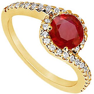Lovebrightjewelry Ravishing 14K Yellow Gold Ruby & Diamond Engagement Ring-0.75 Ct
