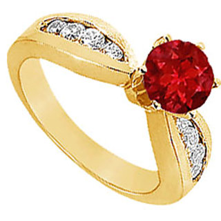 Lovebrightjewelry 14K Yellow Gold Ruby & Diamond Modish Engagement Ring-1.00 Ct