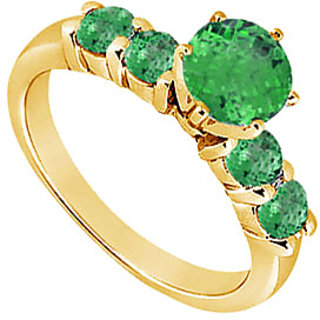 Lovebrightjewelry 14K Yellow Gold Pretty Emerald Ring-0.75 Ct