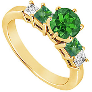 Lovebrightjewelry Diamond & Emerald Engagement Ring 14K Yellow Gold-1.50 Ct