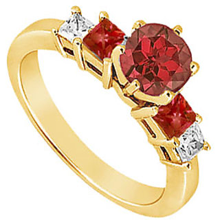 Lovebrightjewelry Diamond & Ruby Engagement Ring 14K Yellow Gold-1.50 Ct