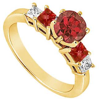 Lovebrightjewelry Diamond & Ruby Engagement Ring 14K Yellow Gold-1.50 Ct